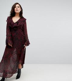 Платье макси с леопардовым принтом Religion Plus - Красный