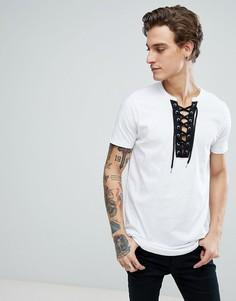 Длинная футболка со шнуровкой контрастного цвета ASOS - Белый
