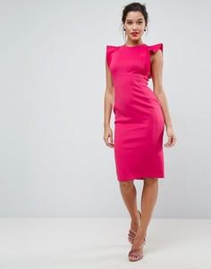 Платье-футляр миди с оборками ASOS - Розовый
