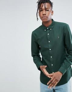 Темно-зеленая оксфордская рубашка узкого кроя Farah Brewer - Зеленый