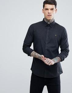 Темно-серая теплая оксфордская рубашка узкого кроя Farah Steen - Серый