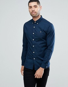 Темно-синяя приталенная рубашка из поплина Farah Libbert - Темно-синий