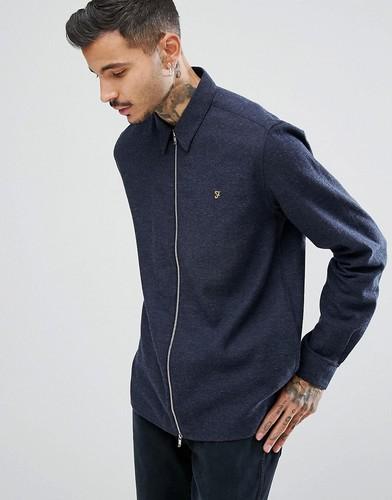 Темно-синяя креповая рубашка на молнии Farah Cromwell - Темно-синий