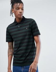 Черная узкая футболка-поло в полоску Farah Peppiat - Черный