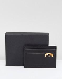Черная кожаная кредитница с узором пейсли в подарочной упаковке Pretty Green - Черный