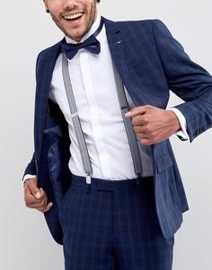 Набор из подтяжек с узором в елочку и однотонного галстука-бабочки темно-синего цвета ASOS - Темно-синий