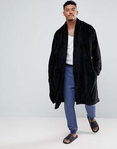 Свободный флисовый халат ASOS - Черный