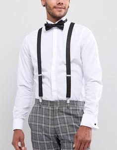 Набор из подтяжек и галстука-бабочки черного цвета в горошек ASOS - Черный