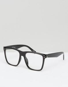 Черные квадратные очки с прозрачными стеклами Jeepers Peepers - Черный