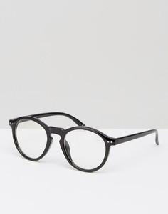 Круглые очки с прозрачными стеклами Jeepers Peepers - Черный