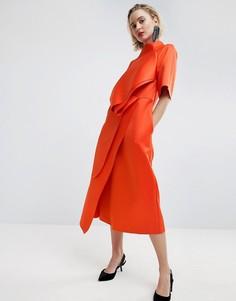 Атласное платье миди с защипами ASOS WHITE - Красный