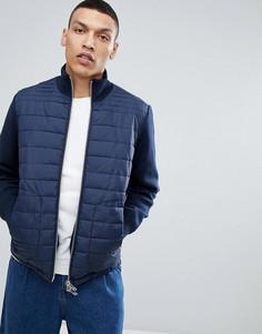 Куртка со стеганой вставкой и трикотажными рукавами Selected Homme - Темно-синий