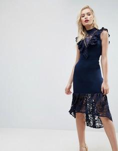 Облегающее платье миди с баской и кружевной отделкой ASOS - Темно-синий