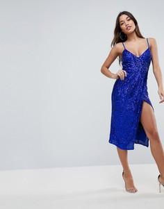 Платье-футляр миди на бретелях с пайетками ASOS - Синий
