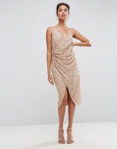 Платье миди с драпировкой ASOS - Золотой