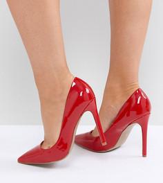 Лакированные туфли-лодочки на каблуке для широкой стопы River Island - Красный