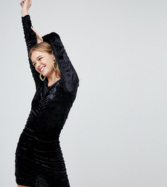Бархатное платье мини с присборенной драпировкой Monki - Черный