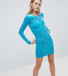 Бархатное платье со сборками на рукавах и по бокам Monki - Синий