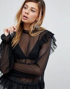 Блузка с высоким воротом и оборками Monki - Черный