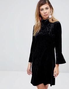 Бархатное платье с высоким воротом Monki - Черный