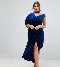 Асимметричное бархатное платье миди ASOS CURVE RED CARPET - Синий