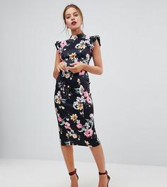 Платье-футляр с вырезом на спине и цветочным принтом ASOS PETITE - Мульти