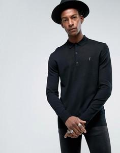 Трикотажная футболка-поло с длинными рукавами из мериносовой шести Allsaints - Черный