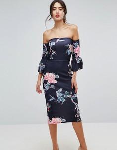 Облегающее платье с цветочным принтом True Violet - Черный