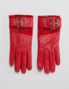 Красные кожаные перчатки на меховой подкладке River Island - Красный