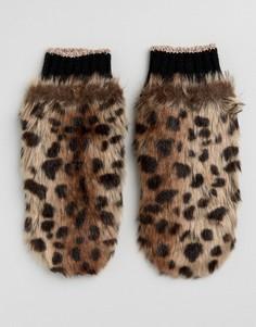 Варежки из искусственного меха с леопардовым принтом River Island - Мульти