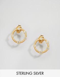 Позолоченные круглые серьги-гвоздики Dogeared Infinity & One - Золотой