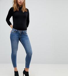 Темные выбеленные джинсы скинни с заниженной талией ASOS PETITE Whitby - Синий