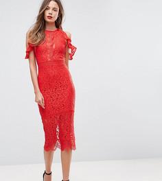 Кружевное облегающее платье миди с открытыми плечами и вырезом NaaNaa Tall - Красный