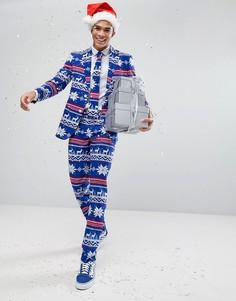 Костюм и галстук с новогодним принтом OPPO - Синий