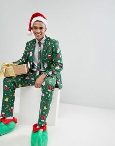 Костюм и галстук с новогодним принтом OPPO - Зеленый