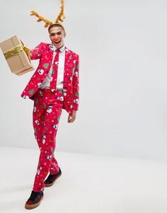 Костюм и галстук с новогодним принтом OPPO - Красный