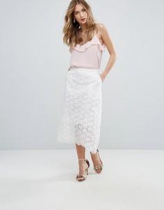 Кружевная юбка миди Traffic People - Белый