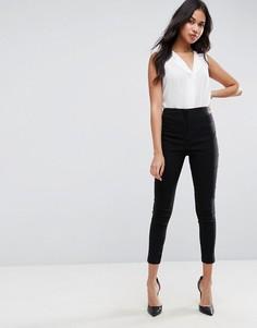 Облегающие брюки с завышенной талией ASOS - Черный