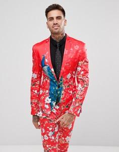 Облегающий пиджак с принтом ASOS - Красный