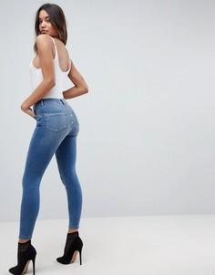 Синие джинсы скинни с завышенной талией ASOS RIDLEY - Синий