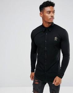 Черная облегающая рубашка с золотистым логотипом Gym King - Черный