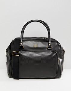 Черная кожаная сумка с перфорированным карманом Fred Perry - Черный