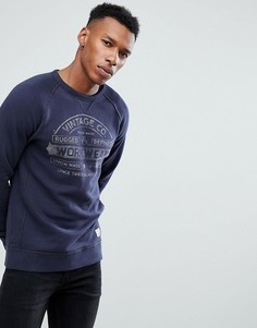 Свитшот с винтажным принтом Jack & Jones Vintage - Темно-синий