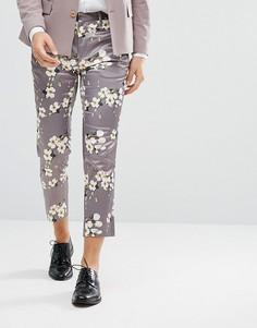 Светло-серые укороченные брюки скинни с цветочным принтом ASOS Wedding - Серый