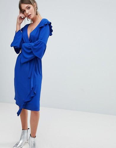 Платье с запахом и оборками на рукавах Miss Selfridge - Синий