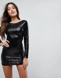 Платье мини с пайетками и глубоким вырезом на спине Club L - Черный