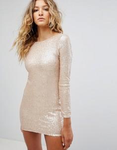 Платье мини с пайетками и глубоким вырезом на спине Club L - Золотой