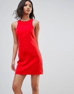 Платье мини на пуговицах Neon Rose - Красный