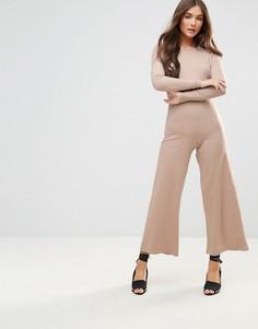 Комбинезон в рубчик с широкими штанинами и длинными рукавами Neon Rose - Бежевый
