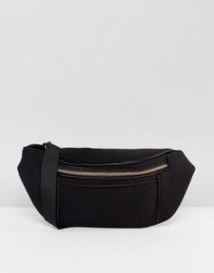 Сумка-кошелек на пояс с отделкой цвета розового золота ASOS - Черный
